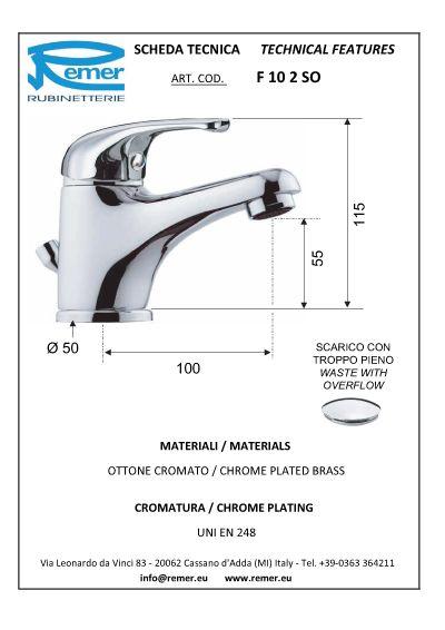 Miscelatore lavabo Remer serie 35 scheda
